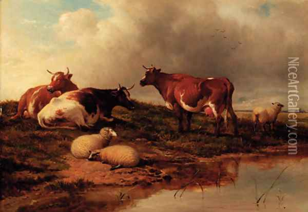 Canterbury Meadows 3 Oil Painting - Thomas Sidney Cooper