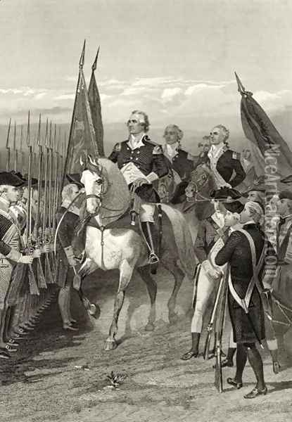 George Washington taking command of the Army, 1775, from 'Life and Times of Washington', Volume I, 1857 Oil Painting - Alonzo Chappel