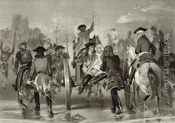 Mortally wounded General Edward Braddock retreats from the Monongahela River in 1755 after an attack from French and Indian Forces, from 'Life and Times of Washington', Volume I, 1857 Oil Painting - Alonzo Chappel