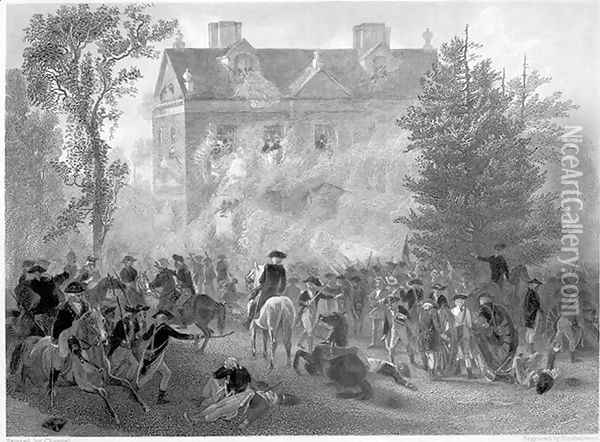 The Battle of Germantown at Chew House in 1777, c.1860 Oil Painting - Alonzo Chappel