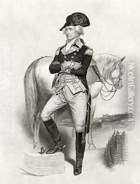 George Washington in 1775, from 'Life and Times of Washington', Volume I, 1857 Oil Painting - Alonzo Chappel