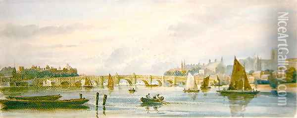 A View of Westminster Bridge looking west towards Lambeth Palace and Westminster Abbey Oil Painting - David Cox