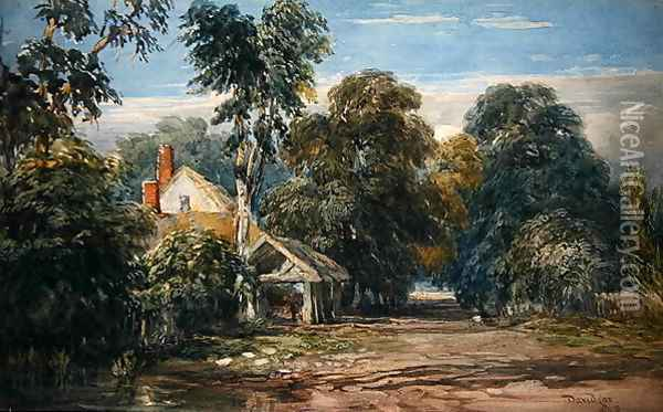 A Cottage and Byre at the Edge of a Wood, 1845 Oil Painting - David Cox