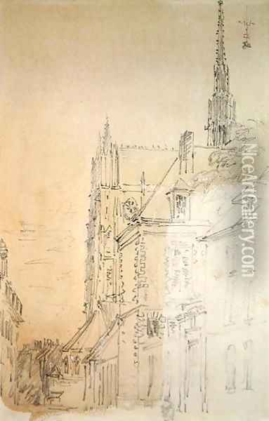 A Cathedral in a Street Oil Painting - David Cox