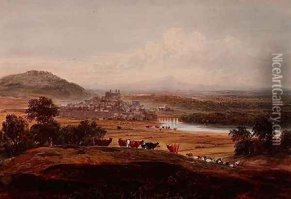 Hay-on-Wye, Herefordshire, c.1830-40 Oil Painting - David Cox