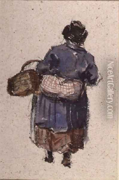 A Welsh Woman Oil Painting - David Cox