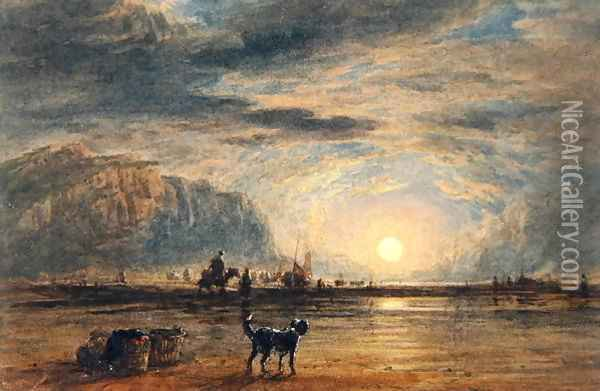 Beach Scene - Sunrise, c.1820 Oil Painting - David Cox