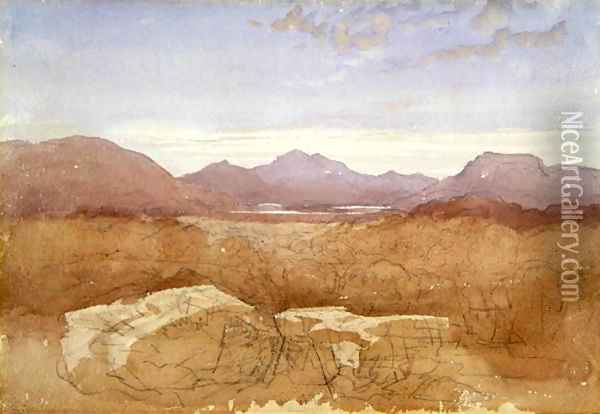 A Mountainous View, North Wales, c.1818 Oil Painting - David Cox