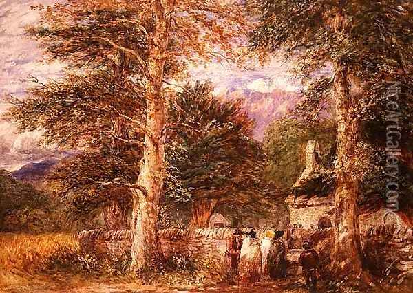 Bettws-y-Coed Church, North Wales, 1852 Oil Painting - David Cox
