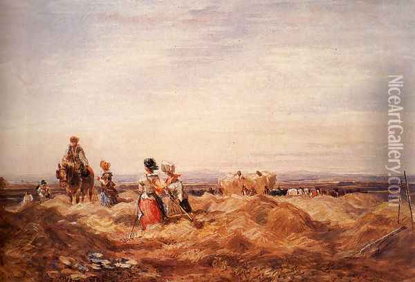 In the Hayfield Oil Painting - David Cox