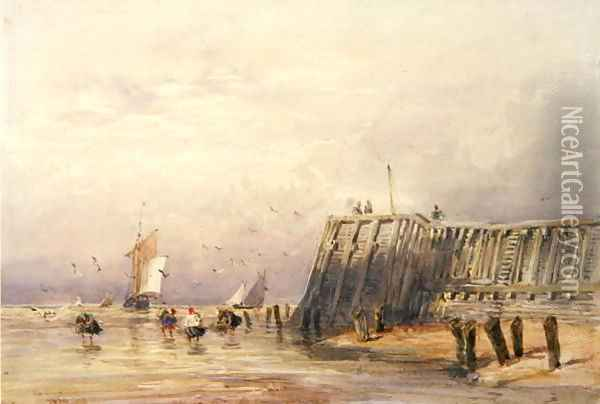 Seascape with Sailing Barges and Figures Wading Off-Shore, 1832 Oil Painting - David Cox