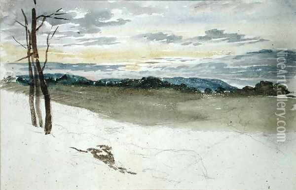 A Woodland Landscape at Sunset Oil Painting - David Cox