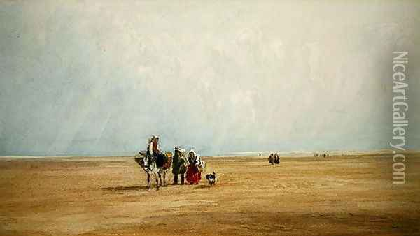 Figures with a Donkey on a French Beach Oil Painting - David Cox