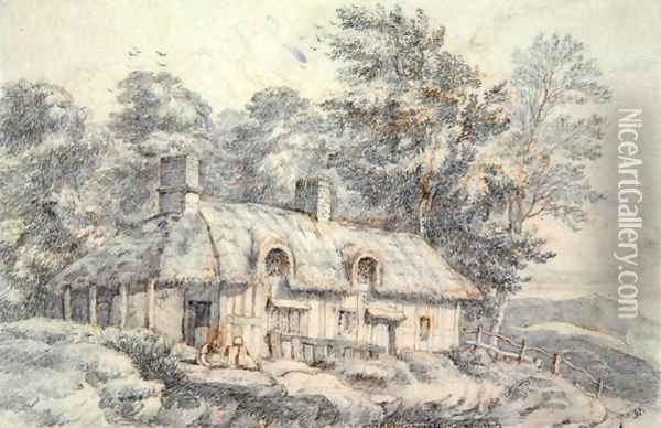 Cottage in Herefordshire, c.1820 Oil Painting - David Cox