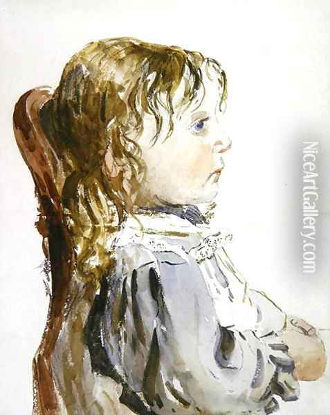 Study of a small girl in a pinafore, probably late 1840s Oil Painting - David Cox