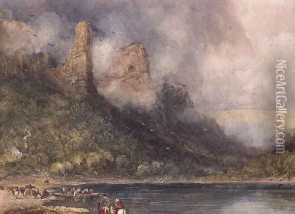 Travellers at Longstone on the Wye Oil Painting - David Cox