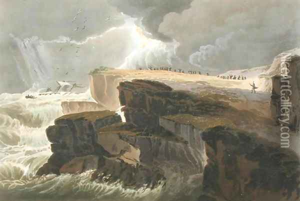 Plate from Book 10 Storm, View on the Coast of Hastings from A Treatise on Landscape Painting Oil Painting - David Cox
