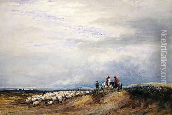 Riders at Ulverstone Oil Painting - David Cox