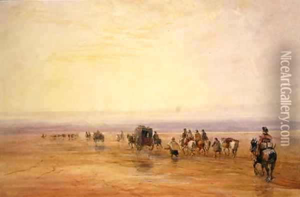 On Lancaster Sands, Sunset (Crossing Lancaster Sands) c.1835 Oil Painting - David Cox
