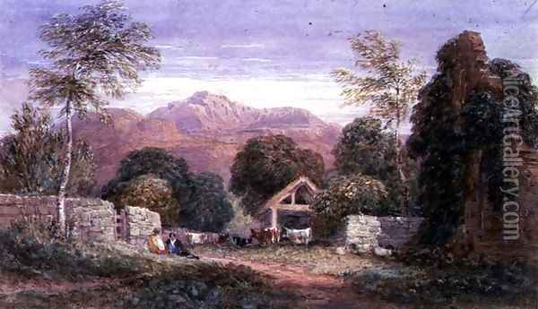 View of Cader Idris Oil Painting - David Cox