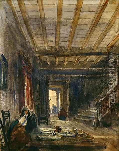 Interior with Figures at a Table Oil Painting - David Cox
