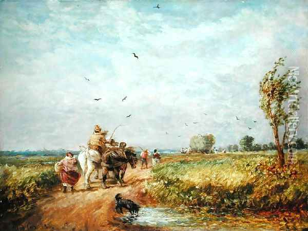 Going to the Hayfield, 1853 Oil Painting - David Cox