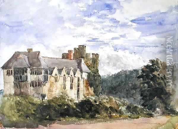 Stokesay Castle and Abbey Oil Painting - David Cox