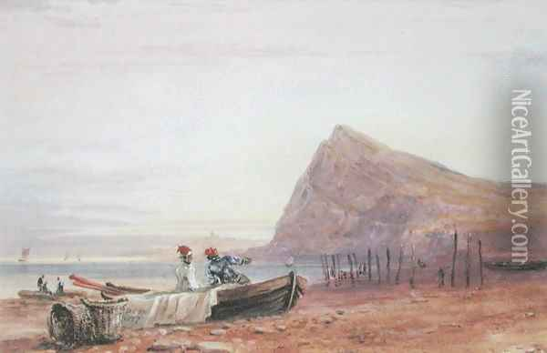 Shakespeare's Cliff, Dover, at Sunset, 1827 Oil Painting - David Cox