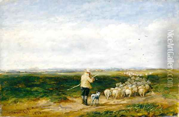 The Shepherd, Return of the Flock, 1850 Oil Painting - David Cox