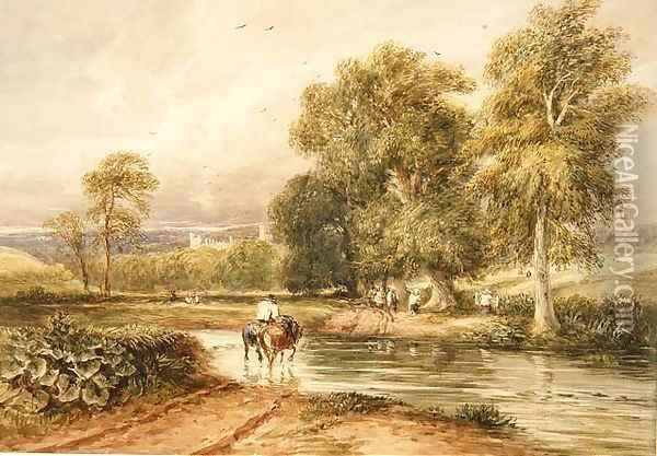 Returning from the Hayfield, with a distant view of Haddon Hall Oil Painting - David Cox