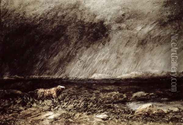 The Challenge on the Moors, near Bettws-y-Coed, North Wales, 1853 Oil Painting - David Cox