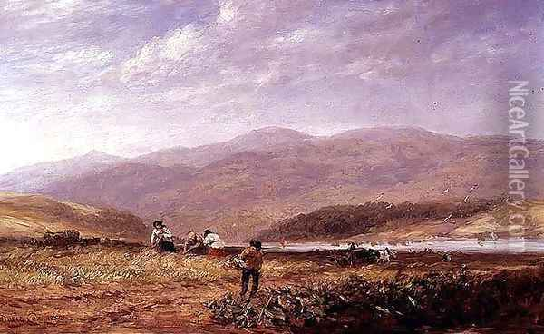 Haymakers in a Welsh Landscape, 1852 Oil Painting - David Cox