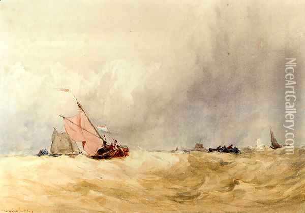 Shipping On The Sheldt, Dort Church In The Distance Oil Painting - David Cox