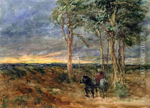 Travellers Approaching a Signpost on a Heath, 1851 Oil Painting - David Cox