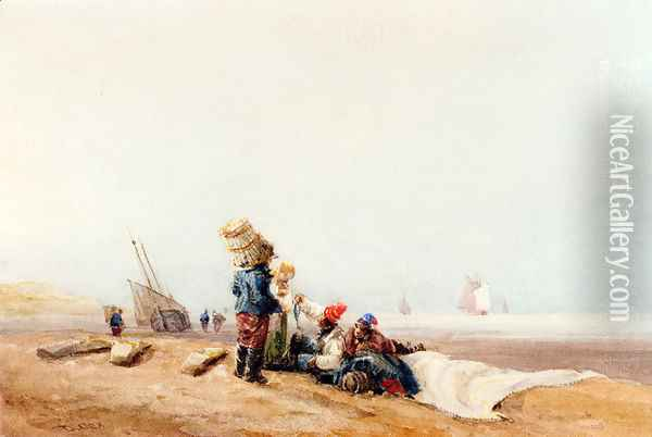 Fisherfolk On The Shore Oil Painting - David Cox
