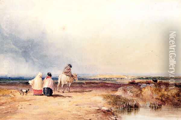 Travellers On A Country Track Oil Painting - David Cox