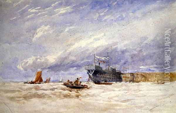 On the Medway, c.1845-50 Oil Painting - David Cox