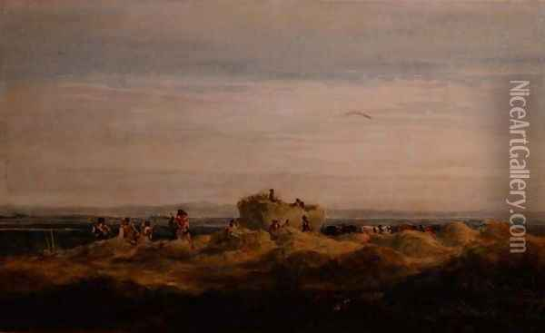 The Hayfield Oil Painting - David Cox