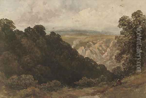 A figure looking over a mountainous landscape Oil Painting - David Cox