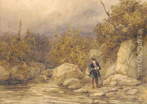 A fisherman at the edge of a river, North Wales Oil Painting - David Cox