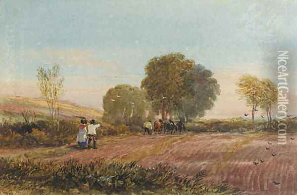 A ploughing scene in Surrey Oil Painting - David Cox