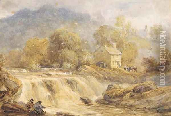 Anglers by a waterfall, Wales Oil Painting - David Cox