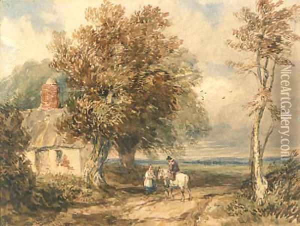 Figures on a track by a cottage, Wales Oil Painting - David Cox