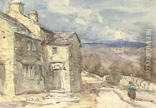 A figure on a lane Oil Painting - David Cox