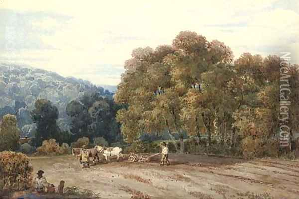 A horsedrawn plough in an extensive landscape Oil Painting - David Cox
