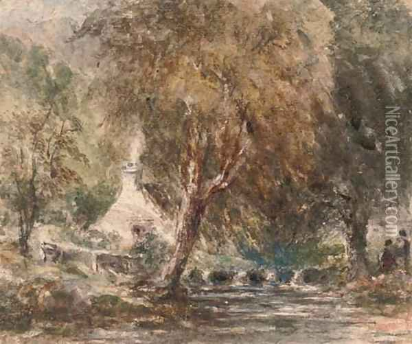 Figures on the banks of a river in a wooded landscape Oil Painting - David Cox