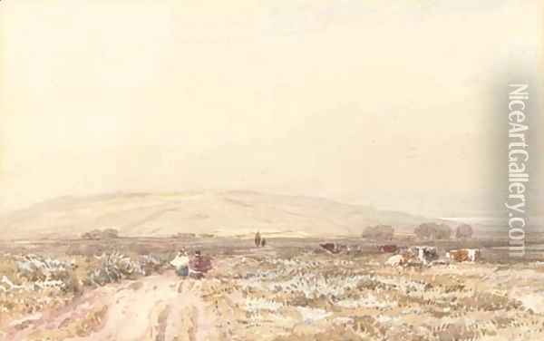 Travellers on a moorland track Oil Painting - David Cox