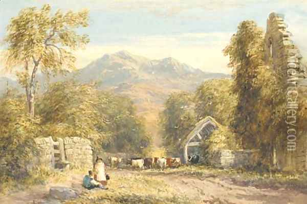 View from Kymmer Abbey, North Wales Oil Painting - David Cox