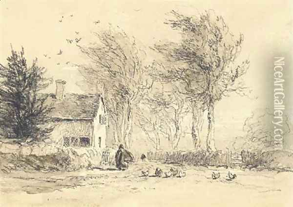 A figure feeding chickens before a cottage Oil Painting - David Cox