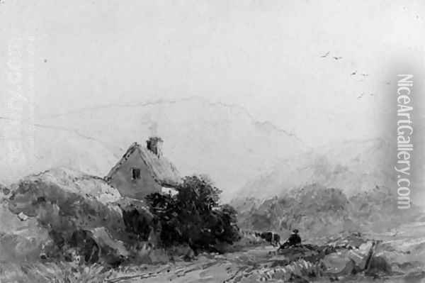 A figure seated on the side of a track, below a cottage Oil Painting - David Cox